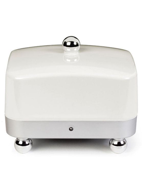 Temperature Controlled Butter Dish with a white lid and silver base